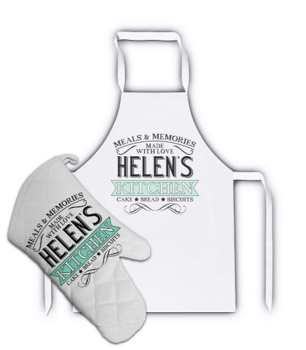 Personalised Any Name Meals & Memories Lovely White Adult Apron & Matching Oven Glove